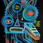 Ghost Dog | Oeuvre originale Acrylique & technique mixte ( + crayons et pastels à l'huile ) sur papier d'art 360gr | 30x40 cm