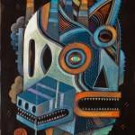 Ghost factory | Acrylique & technique mixte ( + crayons et pastels à l'huile ) sur papier d'art 360gr. | 30x40 cm