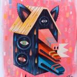 Triple museau | Acrylique & crayons sur papier d'art 400gr. | 24x32 cm