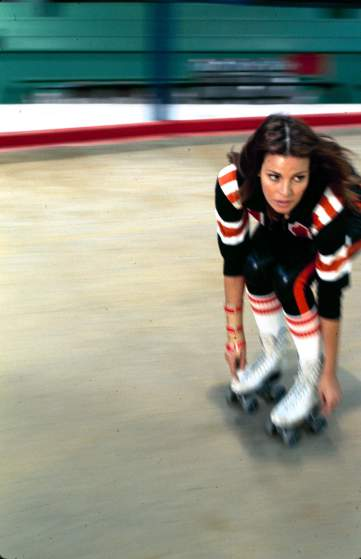 "Raquel WelchActress Raquel Welch in roller derby uniform during filming of motion picture ""The Kansas City Bomber."""